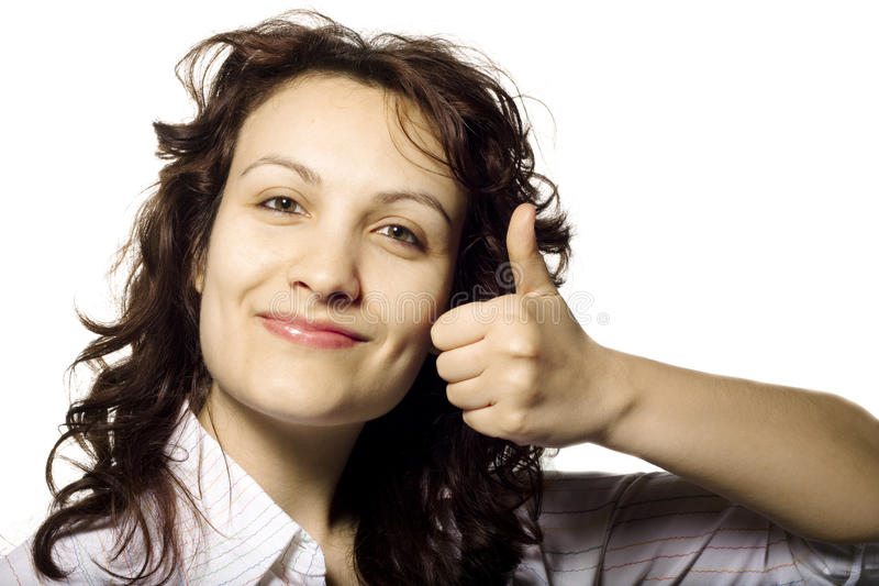 Fille de Thumbs-Up image stock