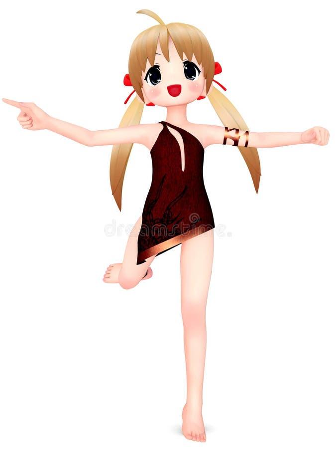 Fille de Toon d'Anime illustration de vecteur