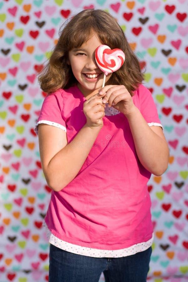 Fille de Valentine avec la lucette images stock