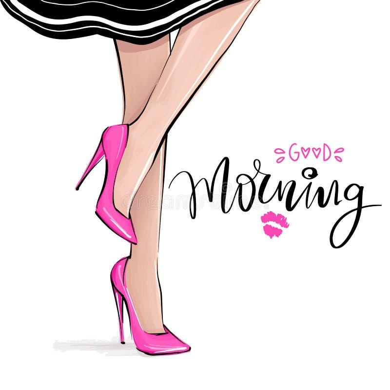 Fille de vecteur dans des talons hauts Illustration de mode Jambes femelles dans des chaussures illustration de vecteur
