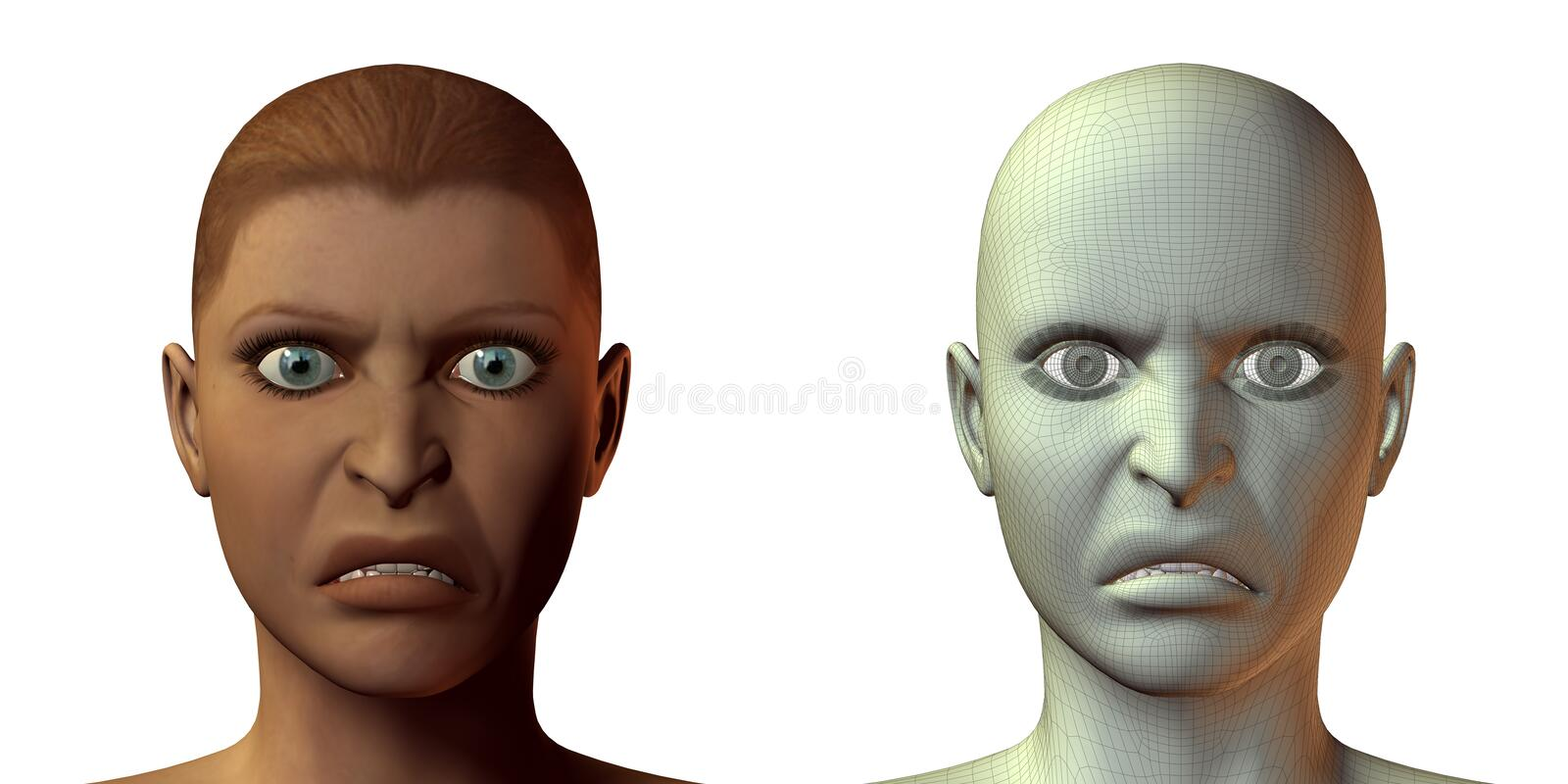 fille de visage de l'émotion 3d illustration de vecteur