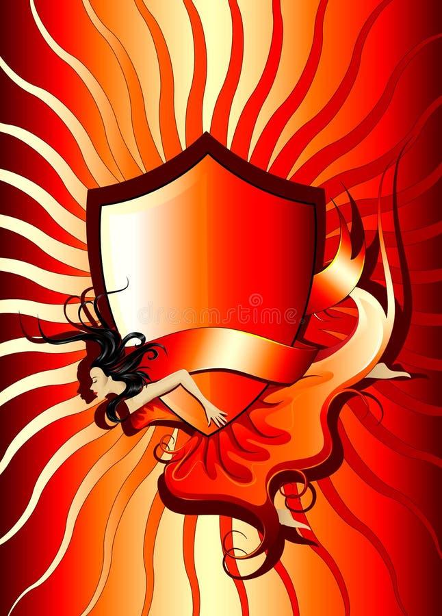 Fille de vol de drapeau d'écran protecteur illustration stock