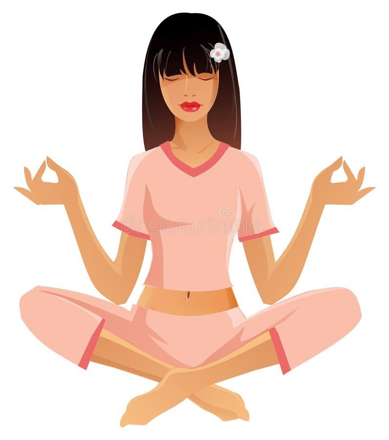 Fille de yoga illustration de vecteur