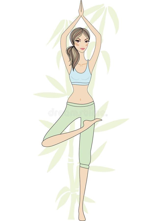 Fille de yoga avec l'arbre en bambou illustration libre de droits