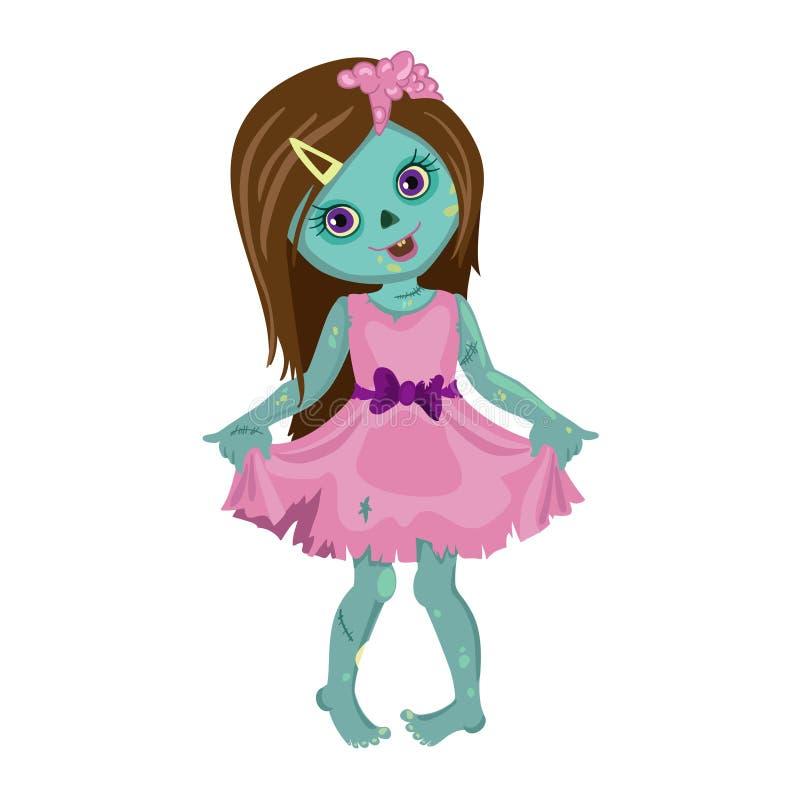 Fille de zombi dans une belle robe illustration de vecteur