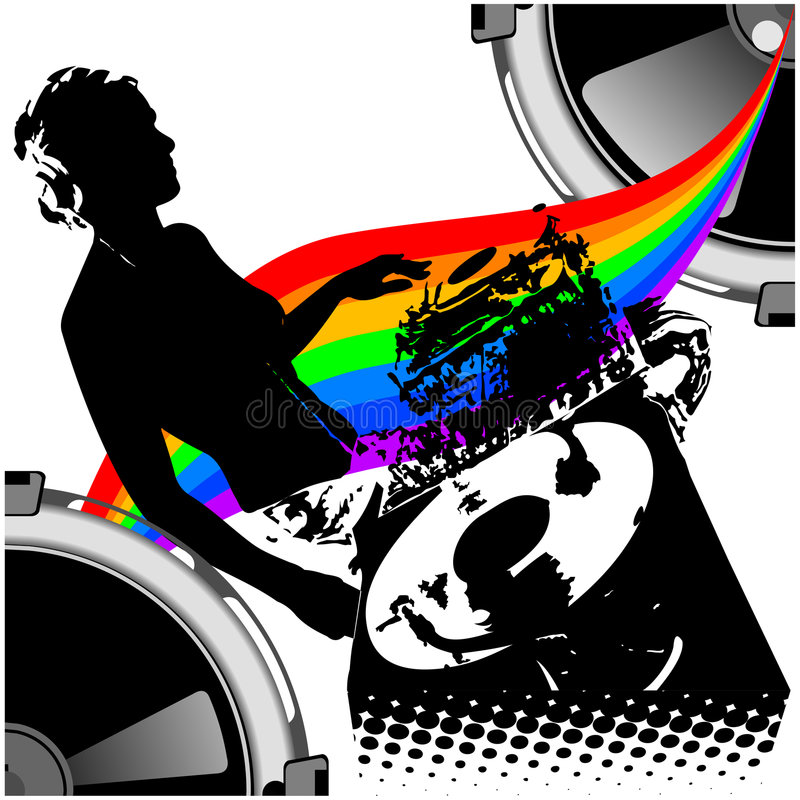 Fille DJ et musique d'arc-en-ciel. illustration libre de droits