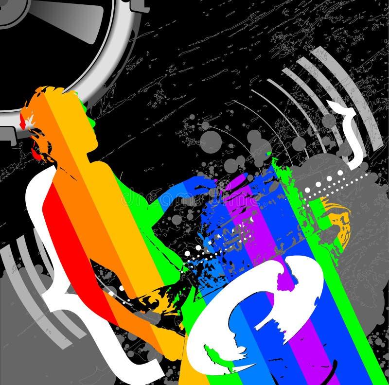 Fille DJ et musique d'arc-en-ciel illustration stock