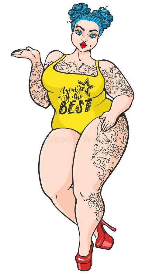 Fille dodue sinueuse de bande dessinée dans le rétro style d'art de bruit Vecteur d'isolement plus la femme de taille avec des ta illustration de vecteur