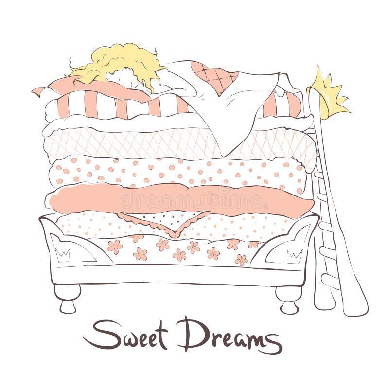 Fille dormant gentiment sur la princesse de lit et le pois illustration libre de droits
