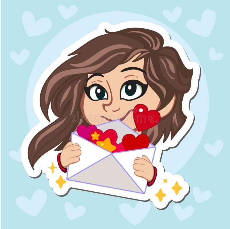 Fille douce avec les cheveux foncés dans le chandail rouge tenant une lettre d'amour Illustration de dessin animé de vecteur cara illustration de vecteur
