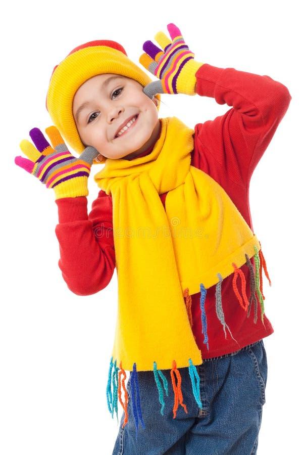 Fille drôle dans des vêtements de l'hiver photos libres de droits