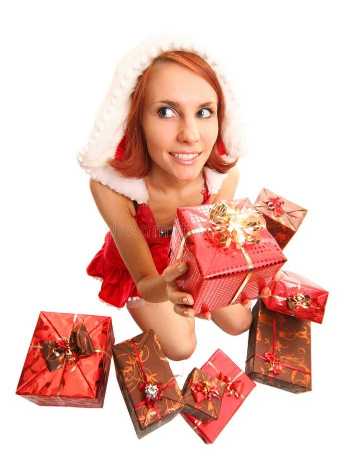 Fille drôle de Santa images libres de droits