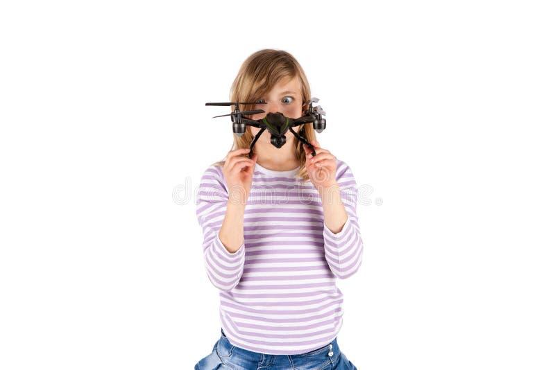 Fille drôle avec le bourdon image libre de droits