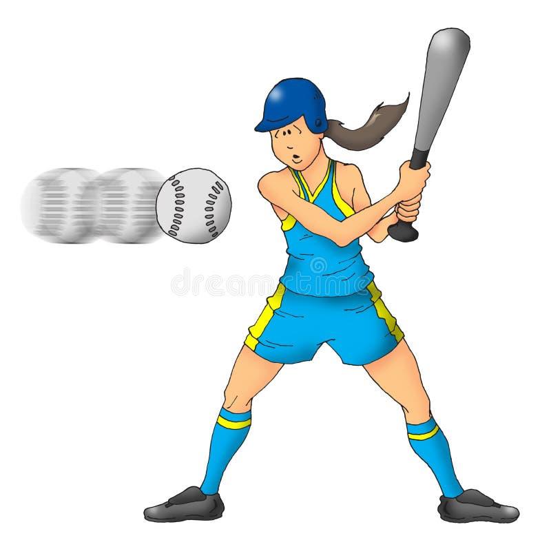 Fille du base-ball illustration stock