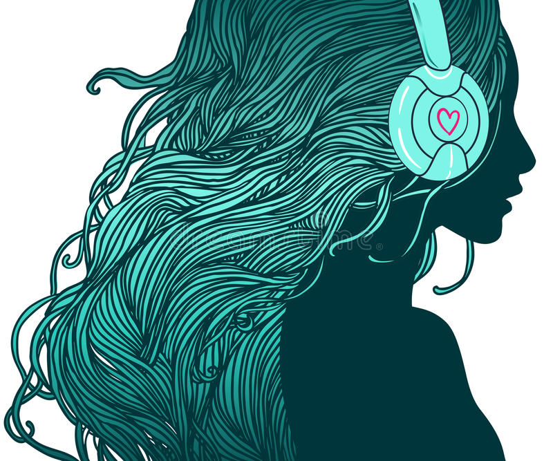 Fille du DJ illustration libre de droits