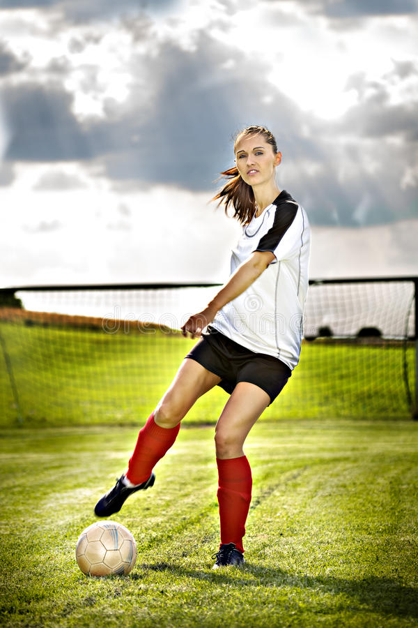 Fille du football image libre de droits