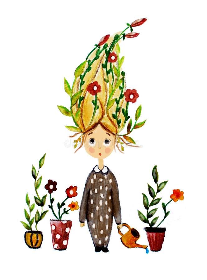 Fille effrayée par fleur illustration libre de droits