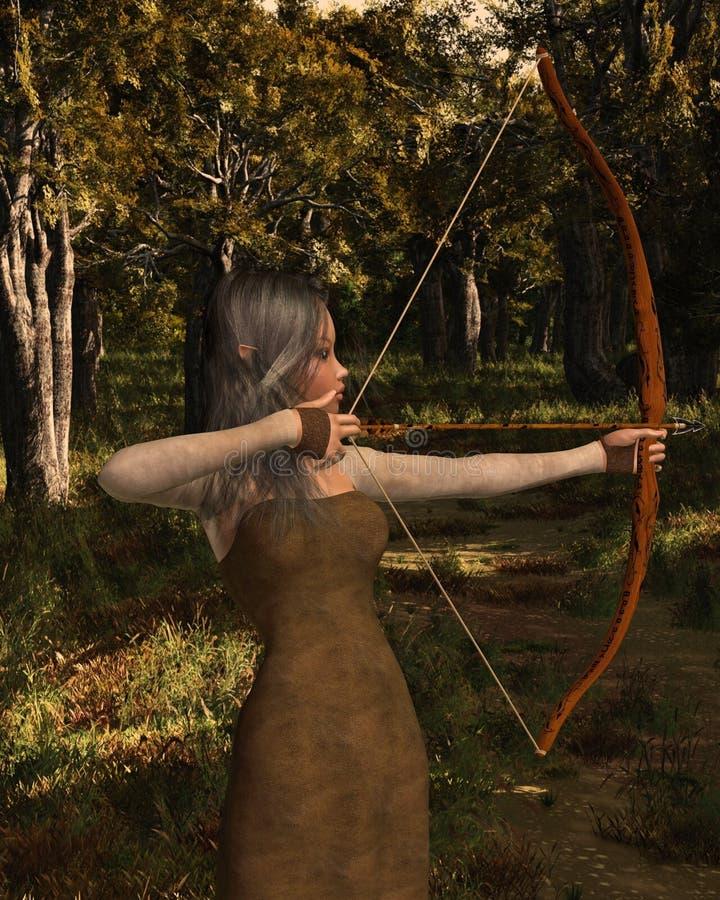 Fille en bois d'Archer d'elfe dans la forêt illustration libre de droits