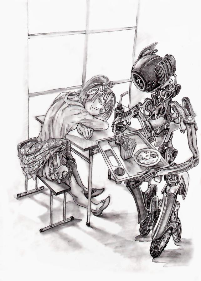 Fille en café, serveur de robot illustration de vecteur