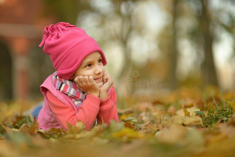 Download Fille en parc d'automne photo stock. Image du nature - 76083372