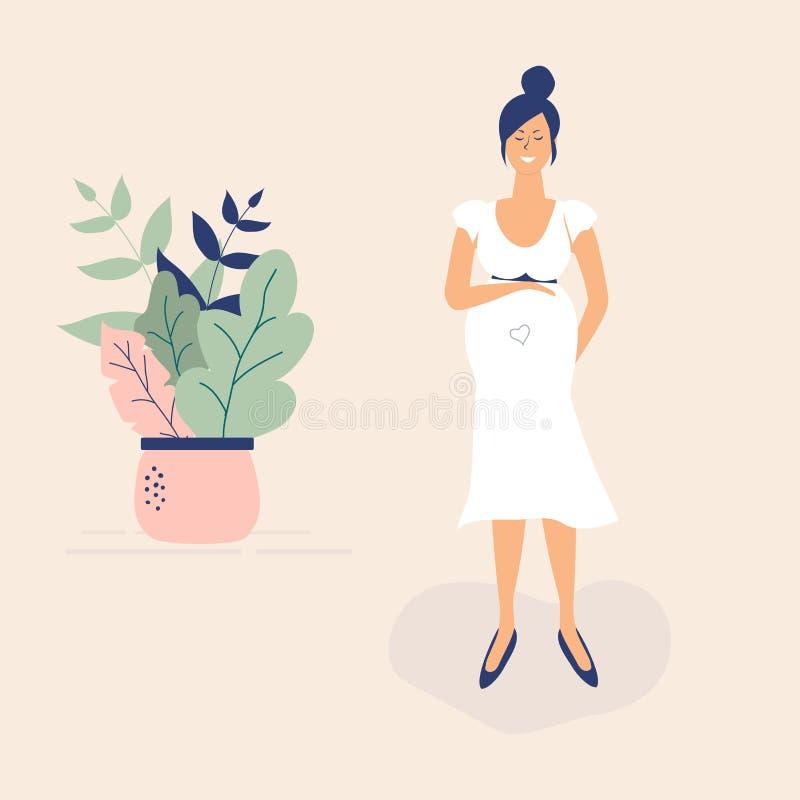 Fille enceinte mignonne dans la robe blanche Style g?nial plat de figures Beaux feuilles, points de polka et coeur d?cor?s Illust illustration libre de droits