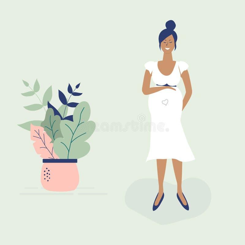 Fille enceinte noire mignonne dans la robe blanche Style g?nial plat de figures Beaux feuilles, points de polka et coeur d?cor?s  illustration de vecteur