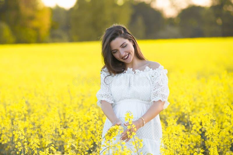 Fille enceinte sur un fond jaune les regards à son estomac, imagine son enfant à venir Concept de maternit? photographie stock libre de droits