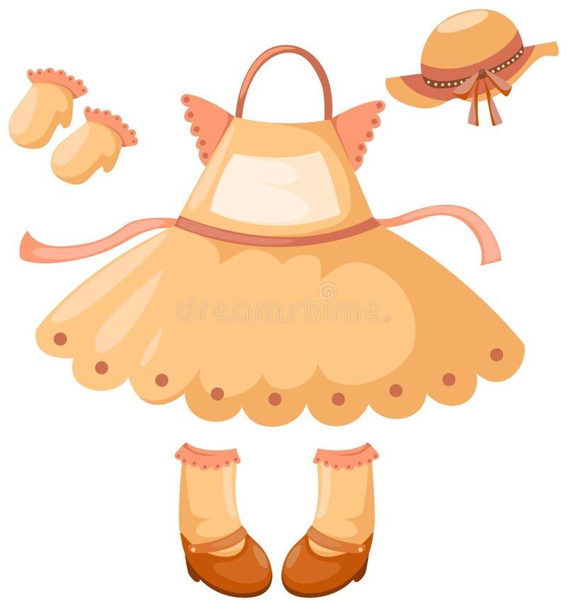 Fille et accessoires de robe illustration stock