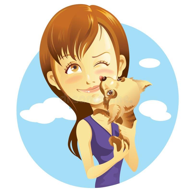 Fille et animal familier illustration stock