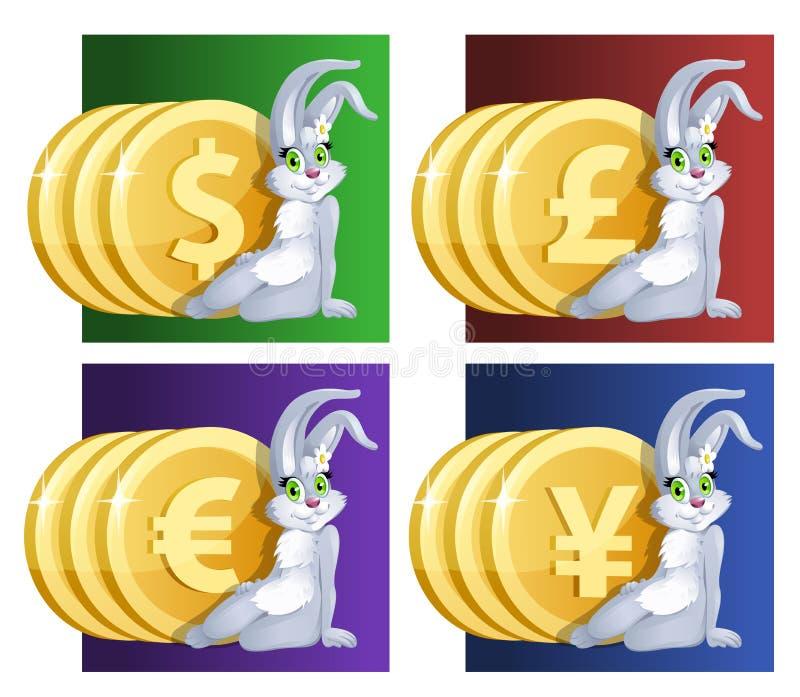 Fille et argent de lapin chanceux Dollar, euro, Yen, livre sterling illustration de vecteur
