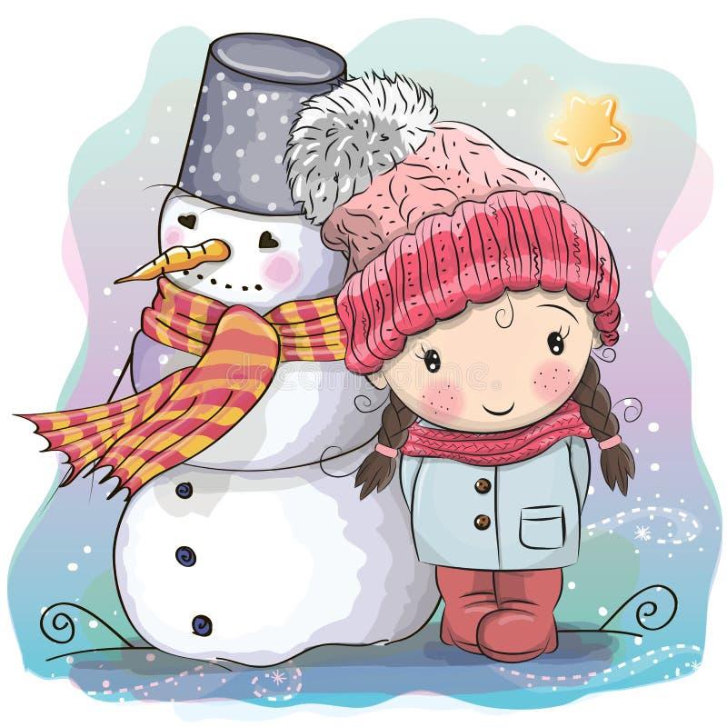 Fille et bonhomme de neige mignons illustration de vecteur