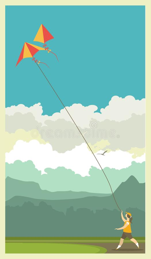 Fille et cerf-volant illustration libre de droits