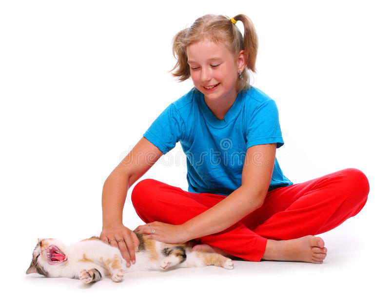 Fille et chat. images stock