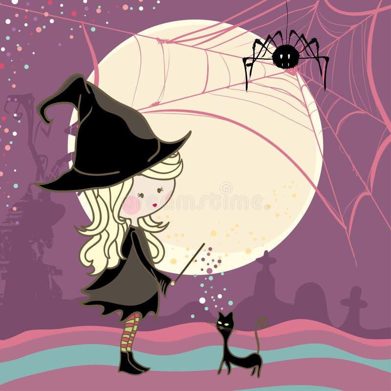 Fille et chat de Halloween illustration de vecteur