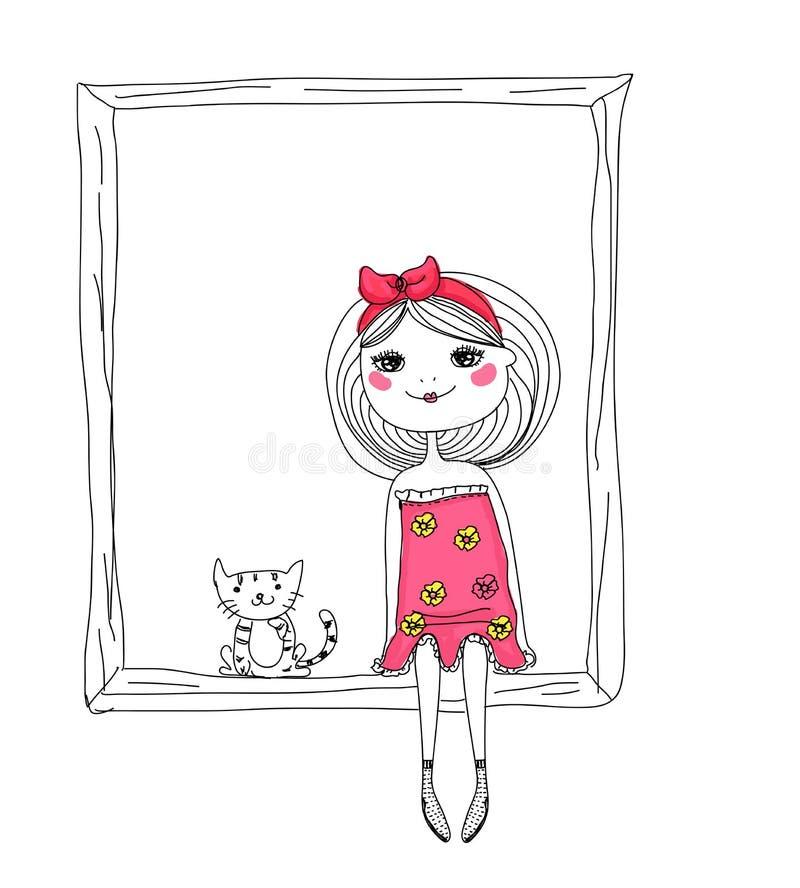 Fille et chat mignons de croquis illustration libre de droits
