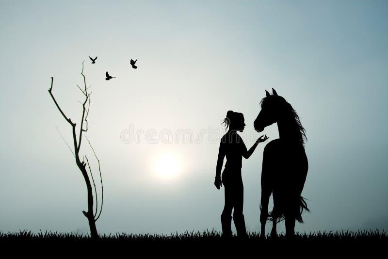 Fille et cheval dans le brouillard illustration stock