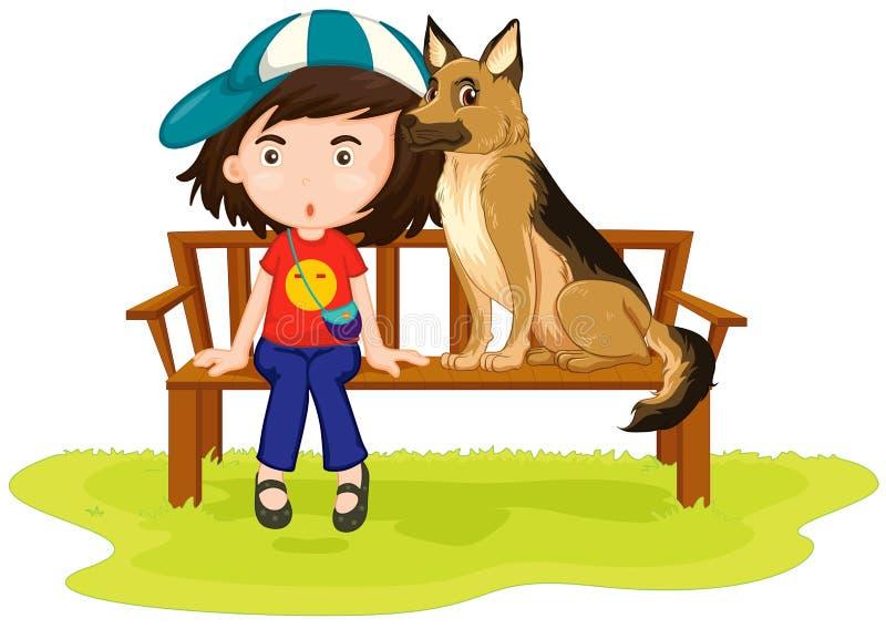 Fille et chien se reposant en parc illustration libre de droits