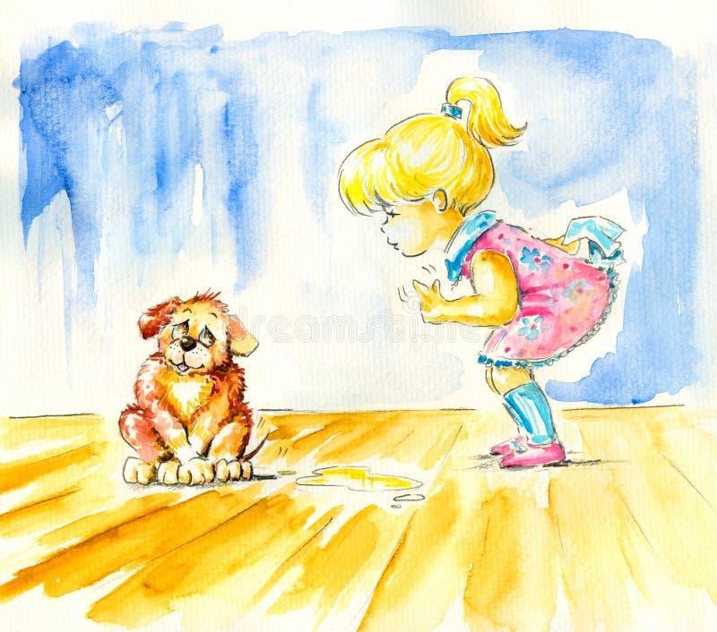 Fille et crabot illustration de vecteur