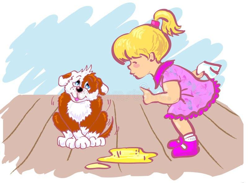 Fille et crabot. illustration stock