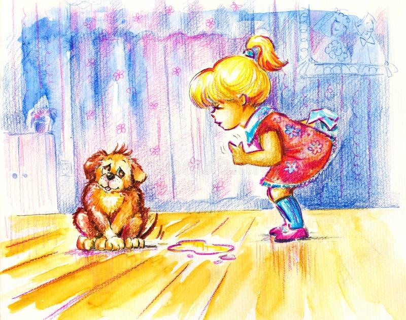 Fille et crabot illustration stock