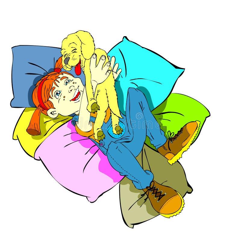 Fille et crabot avec des coussins illustration libre de droits