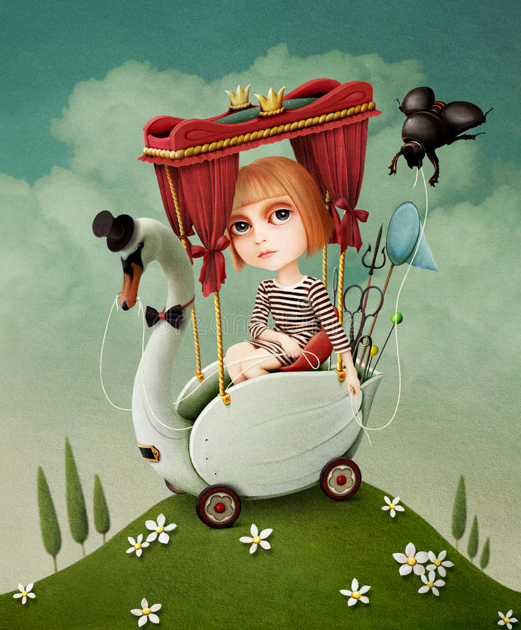 Fille et cygne. illustration stock