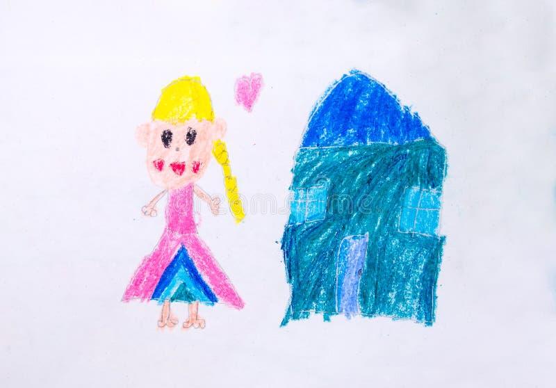 Download Fille Et Dessin à La Maison Par Couleur De Crayon Illustration Stock - Illustration du amusement, attraction: 76080264