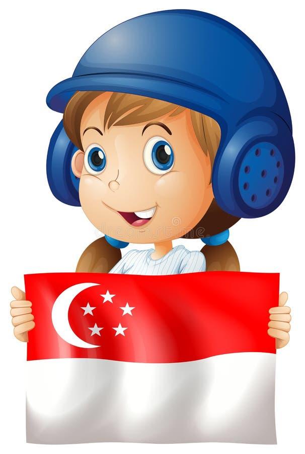 Fille et drapeau heureux de Singapour illustration libre de droits