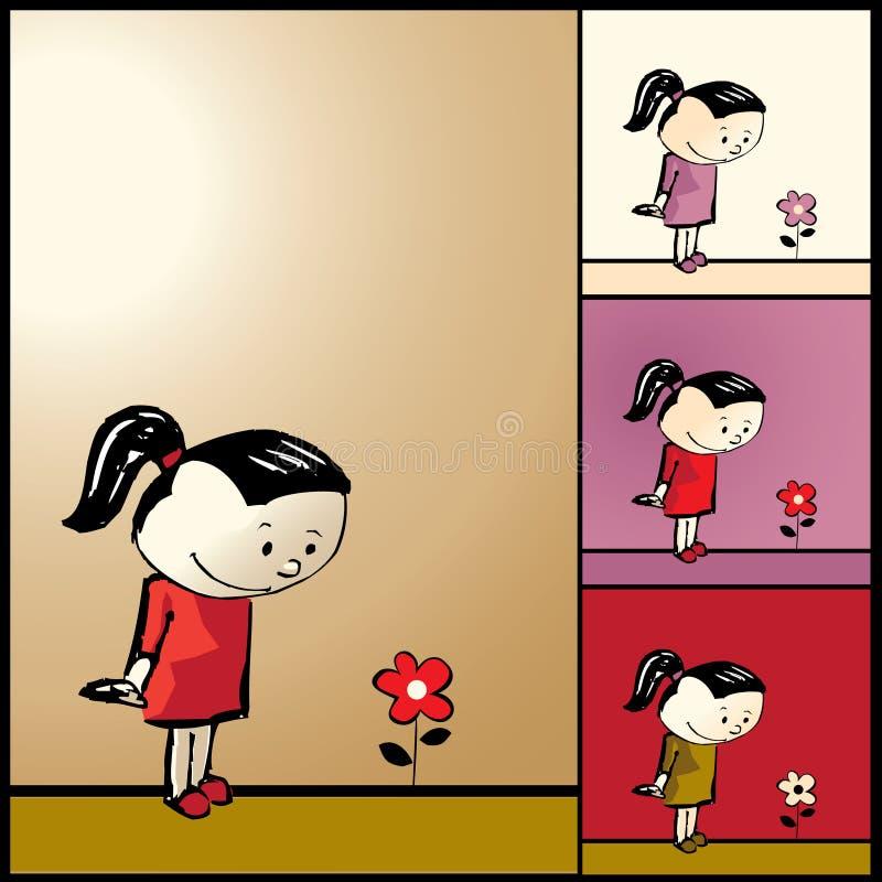 Fille et fleur illustration stock