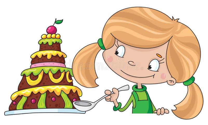 Fille et gâteau illustration stock