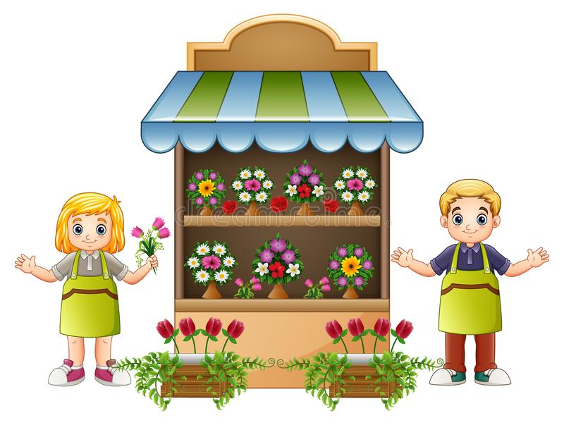 Fille et garçon de fleuriste dans le fleuriste illustration libre de droits