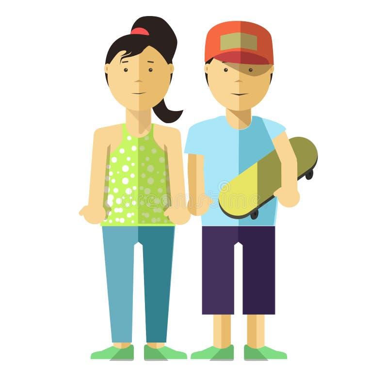 Fille et garçon heureux avec le patin Les jeunes dans des vêtements sport illustration libre de droits