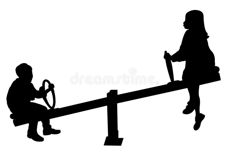 Fille et garçon jouant, bascule illustration libre de droits