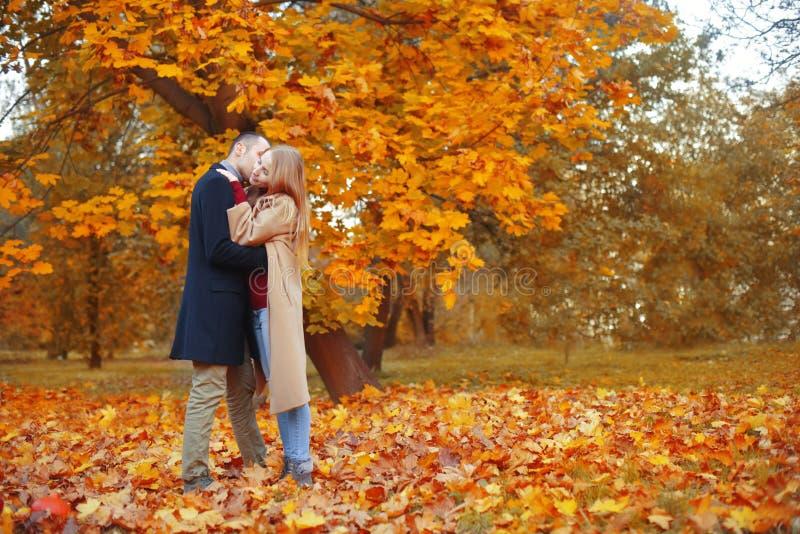 Fille et homme ou amants sur l'étreinte de date Couples dans l'amour en stationnement Concept de datation d'automne Homme et femm photographie stock libre de droits